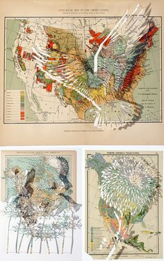 claire_brewster_map_art (cutting out) Collages, Collage Art, Illustrations, Illustration Art, Map Projects, World Map Art, Art Design, Design Ideas, A Level Art