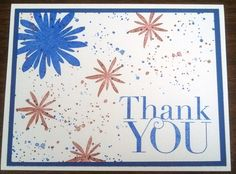 Patriotic Thank You Card for OWH using Stampin Up's Flower Patch, Gorgeous Grunge and Another Thank You stamp sets.  Those flowers make fun fireworks too.