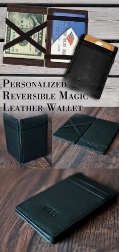 Idea for Kevin wallet with the elastic then add the existing magnetic me net clip from his old wallet Credit Card Wallet, Credit Cards, Front Pocket Wallet, Best Gifts For Men, Leather Projects, My Guy, Groomsman Gifts, Leather Working, Leather Craft