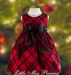 Red & Green Plaid Christmas Holiday Dress with Black Velvet Trim ...