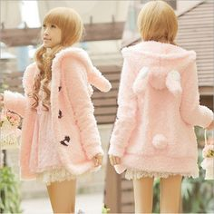 Cute rabbit ears plush coat
