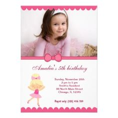 Show off your little birthday girl with this cute, customizable ballerina birthday invitation #card #pink #invite