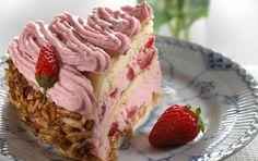 Dejlig lagkage med sød og frisk smag fra jordbær.