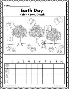 Earth Day Math - Color Count and Graph - Erde Earth Day Preschool Activities, Graphing Activities, Kindergarten Science, Holiday Activities, Kindergarten Themes, Preschool Learning, Earth Day Projects, Earth Day Crafts, Earth Day Worksheets