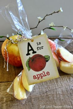 Vintage A is for Apple Flashcard Printable Tags