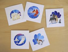 Holiday Card Collection: Winter Animal Families.  Watercolour Paintings by Marisa Pahl.  www.lanewayartcollective.com  lanewayart@gmail.com