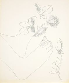 Feet with Flowers  Andy Warhol  1956