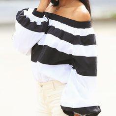 Afar Off The Shoulder Top in Stripe #mlmlabel #stripeshouldertop