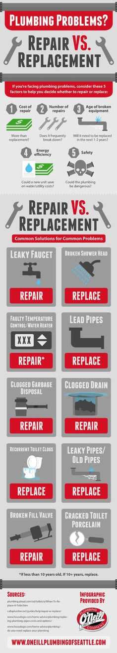 If you're facing plumbing problems, you're probably wondering whether or not your household appliances will need to be replaced. Click on this infographic to learn 5 factors you should consider to determine which plumbing issues require replacement.