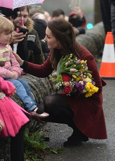 Catherine, Duchess of Cambridge meets members of the public after visiting Caerphilly Family Intervention Team (FIT) to learn about their work with children with emotional and behavioural difficulties, problems with family relationships and those who have or who are likely to self-harm on February 22, 2017 in Caerphilly, United Kingdom.