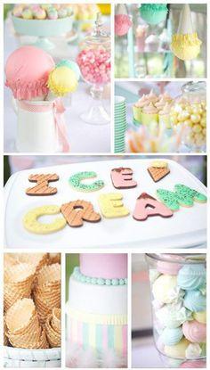 Ice Cream Shoppe Party via Karas Party Ideas | KarasPartyIdeas.com #ice #cream #shoppe #party #ideas #summer #cake