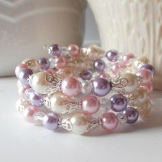 Pink and Purple Memory Wire Bracelet Beaded Jewelry Bridesmaid Gift Bridal Jewellery Wedding Sets Chunky Bracelet Handmade