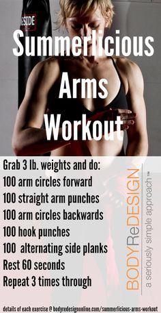 """Summerlicious Arms"" workout, from https://bodyredesignonline.com/summerlicious-arms-workout/"