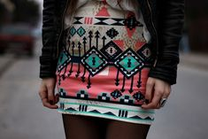 printed skirt with leather jacket <3