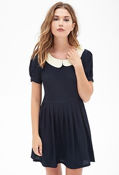 Peter Pan Collar Dress love this look with printed tights and your Black Saffiano Everpurse. Pretty Outfits, Pretty Dresses, Beautiful Dresses, Cute Outfits, Peter Pan Dress, Peter Pan Collar Dress, Fast Fashion, Gyaru, Girly
