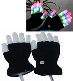 LED Colorful Flashing Finger Lighting Gloves #Luwint