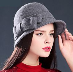 Elegant bowknot bowler hat for lady winter wool gray hats Mens Bucket Hats, Grey Hat, Bowler Hat, Winter Hats For Women, Kids Hats, Feminine Style, Womens Fashion, Fashion Trends, Wool