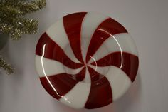 Peppermint Compote Fused Glass Bowl by Purpleslug on Etsy