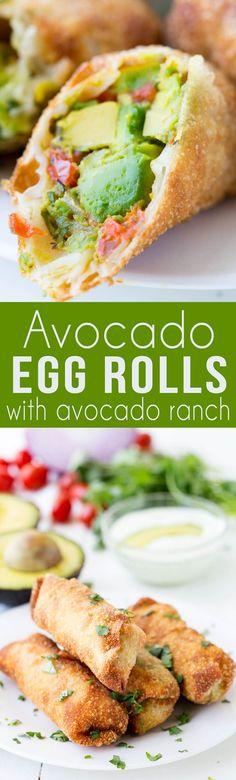 Avocado Egg Roll with creamy avocado ranch dipping sauce #ad