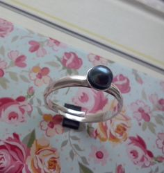 Handmade Ring Adjustable freshwater pearl and by TommyDark on Etsy