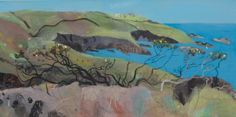 Scorched Cliff Morvah 2 by Elaine Pamphilon | Mixed media on canvas | 50 x 100 cm #elainepamphilon #tannerandlawson #cornwall