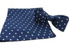 Mens Navy Blue with Stars Bow Tie and Pocket Square Set  by ClassA