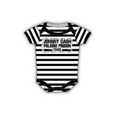 Infant: Johnny Cash - Folsom Stripes Bodysuit Infant Onesie ($25) ❤ liked on Polyvore featuring home, children's room and children's bedding