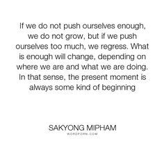 """Sakyong Mipham - """"If we do not push ourselves enough, we do not grow, but if we push ourselves too..."""". personal-growth, personal-development"""