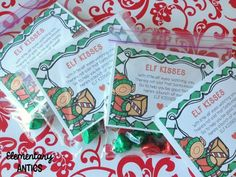 FREEBIE. Holiday Gift Ideas for the Classroom- Elf Kisses! Just put Hershey kisses in a baggie with this cute saying.  Download this cute FREE resource at:  https://www.teacherspayteachers.com/Product/Elf-Kisses-Treat-Topper-1604289