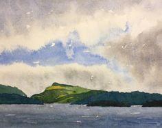 Original Watercolor Landscape Peak sunset by idhart on Etsy