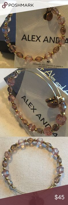 Alex and Ani Crystal and Gold Beaded Bangle, Gold Excellent condition Alex and Ani Crystal and Gold Beaded Bangle.  No trades, price firm.  Will come with Alex and Ani box and card. Alex & Ani Jewelry Bracelets