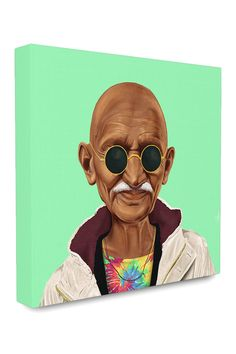 Stupell HIPSTORY Hipster Mahatma Gandhi Stretched Canvas Wall Art