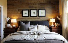 Love the wood accent wall, perfect backdrop to frame the bed and headboard.  Master Bedroom