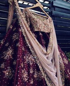 Maroon and blush bridal lehenga set with soft net embroidered blush dupatta. Lehenga and blouse are made from silk fabric. Indian Wedding Lehenga, Indian Lehenga, Pakistani Wedding Dresses, Gold Lehenga, Bridal Dresses, Indian Gowns Dresses, Indian Fashion Dresses, Indian Designer Outfits, Indian Bridal Outfits
