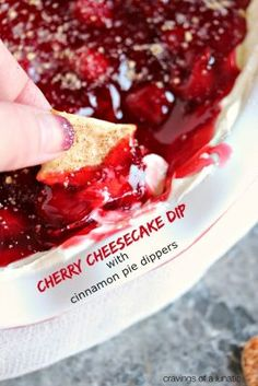 This recipe for Cherry Cheesecake Dip is super easy and addictive! Plus there is a bonus recipe for Cinnamon Pie Dippers which you can use for dipping. All made in less than 15 minutes! #cherry #cheesecake #dip #dessert #snack Dessert Dips, Easy Desserts, Delicious Desserts, Dessert Recipes, Dip Recipes, Cake Recipes, Cold Desserts, Sweet Desserts, Keto Recipes
