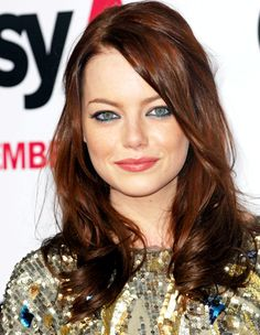 emma-stone-red-brunette-brown-waves-curls-hairstyle-wenn