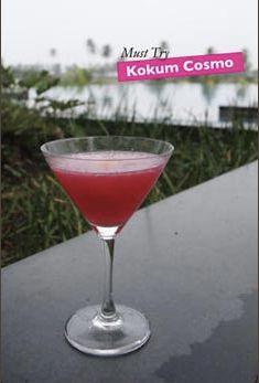 It's Friday, time for one of these. A Kokum Cosmo from the Edge Bar. 30ml vodka, 15ml cointreau, 15ml kokum, a sprinkle of demerara sugar, a few slices of lime, add ice and shake it all together. Hey presto, happy weekend everyone.