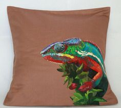 Chameleon decorative pillow cover. Animal by FennekArtDesign