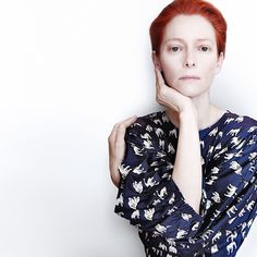 Tilda Swinton, all red, white and blue
