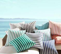 "Indoor/Outdoor Sunbrella(R) Brice Stripe Pillow, 20"", Melon/Ivory"