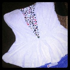 Bejeweled peplum top revamped Colorful gems white lace  Size Large  Zipper in the back.  Revamped Other Tank Tops