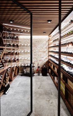 Glass Wine Cellar, Home Wine Cellars, Wine Cellar Design, Caves, Industrial House Numbers, Small Mansion, Indoor Bar, Wine House, Wine Display