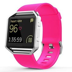 "Fitbit Blaze Accessories Classic Band Small, UMTele Soft Silicone Replacement Sport Strap Band with Quick Release Pins for Fitbit Blaze Smart Fitness Watch Hot Pink, Frame Not Included (5.5""-6.7"")"