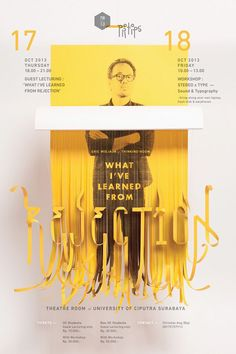 Good poster design, use of typography, shapes and image overlays