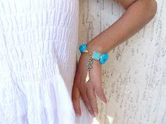 Turquoise Turkish Silk Bracelet Gold Bracelet by sevinchjewelry, $32.00