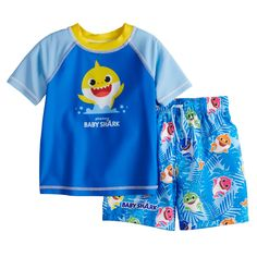New Infant Boys 24m 24 mos Surf Swim Shirt Rash Guard Shark Print Joe Boxer NWT