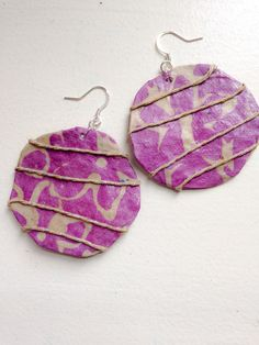 Round Purple Batik Paper EarringsArtisan by YellowstoneDesigns