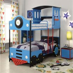 Free Shipping. Buy ACME Furniture Tobi Train Twin over Twin Bunk Bed in Blue and Black at Walmart.com