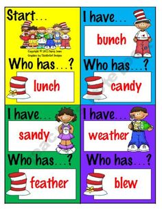 I Have Who Has? Game - Dr. Seuss Word Rhymes