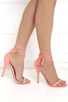 Awe I Want Coral Suede Lace-Up Heels at Lulus.com!